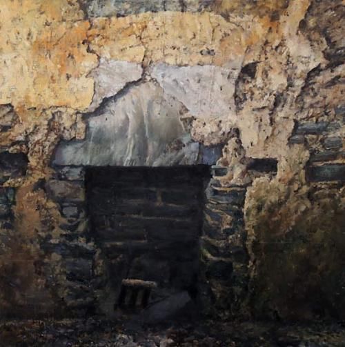 oil painting by Eoin Mac Lochlainn. Tinteán Tréigthe, 50 x 50cm, oil on canvas