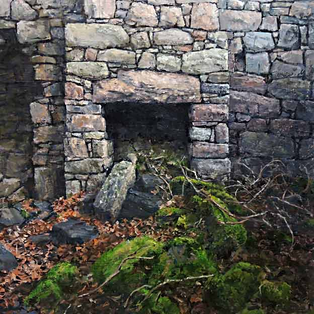 oil painting of old deserted fireplace by Eoin Mac Lochlainn entitled: Tinteán Tréigthe no.19, oil on canvas, 2016