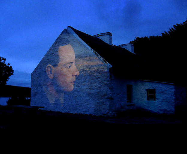 film projection by Eoin Mac Lochlainn at Pearse's Cottage in Rosmuc, Connemara