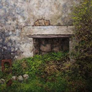 oil painting by Eoin Mac Lochlainn of old fireplace in derelict cottage