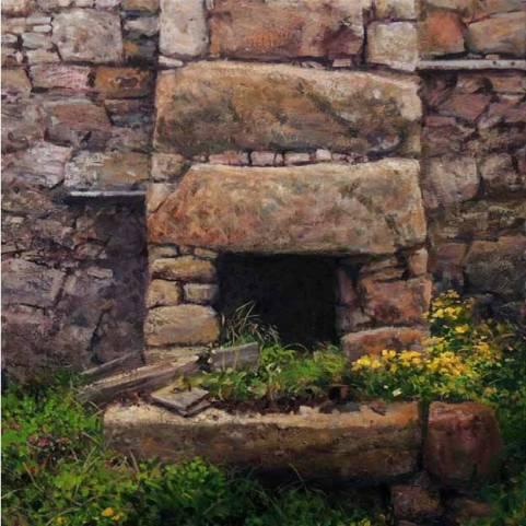 painting by Eoin Maclochlainn Tinteán Tréigthe no. 20, 50 x 50cm, oil on canvas, 2015