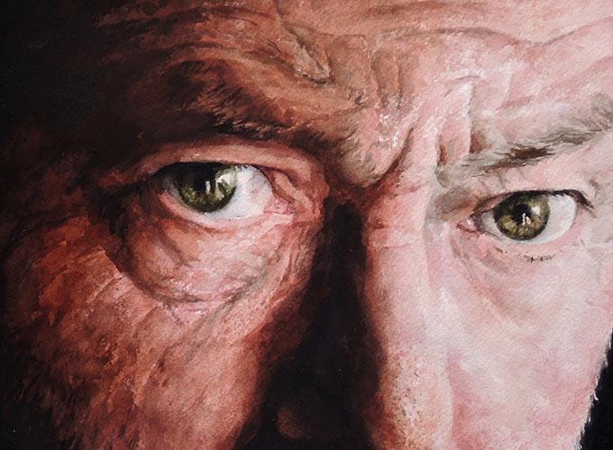 watercolour self portrait by Eoin Mac Lochlainn